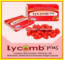 Lycomb plus (Lycopene with Betacarotene, Vitamin B12, Multivitamin, Mutimineral & Antioxidant Softgel Capsules)
