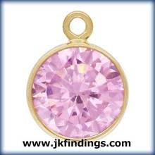 1/20 14K Gold Filled Jewelry Findings 6.0mm Bezel Drop Pink CZ GP