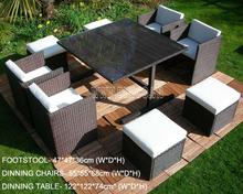 Outdoor Modern Plastic Flat Rattan Sofa Set