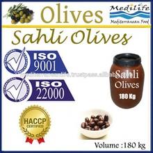 100% Tunisian Black Olives. Sahli Olives. Natural Sahli Olives . 180 Kg in Plastic container