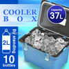 Cooler box37L Japan made insulate warm and cool with handle fishing outdoor leisure beach plastic food wine beer AQUA BLUE 400
