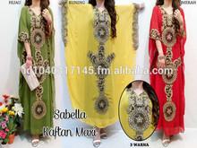 Fashion emboridery chiffon muslim dress islamic long kaftans stock available muslim woman islamic clothing Dubai abaya