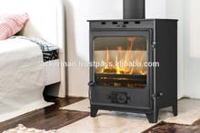 Freestanding steel stove for wood, coal and briquette ACKERMAN W7 5 kW with cast iron door