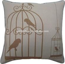 Linen/cotton decorative pillow cover,screen print cushion cover.Bird cage cushio cover