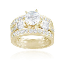 Fashion Wedding Ring Set Design with Prong Setting18K Gold Plated CZ Diamond