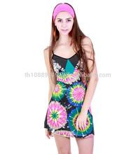 Wholesale product - 2015 Woman Summer Spaghettt Strap Dress SD293 Tie dye pattern