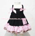 Rosa claro leopardo negro spaghetti top com luz laço cor de rosa com correspondência luz leopardo rosa babados calcinhas pretas bloomers