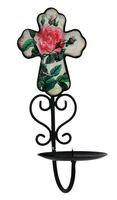 Metal flower design church candle holder