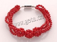 Natural Coral Bracelets, round beads, red color, multistrand, 4mm, Sold per 7.5-Inch Strand