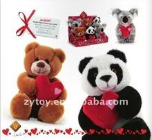 Animal plush with heart,cute plush bear