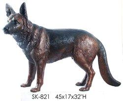 Bronze German Shepherd Dog Statue