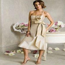 Free Shipping Cheap Strapless Cocktail Dresses Sheath Flower Sash Ankle Length Patt