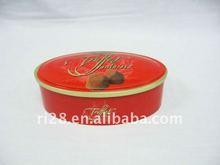 Empilhável oval caixa de lata de chocolate { YX0012 }