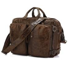 """6055R-1 Genuine Leather Men's Laptop Backpack Travel Camping Dispatch Messenger Bag 15"""""""
