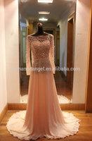 Real sample crystal beaded long sleeves open back elie saab dresses for sale
