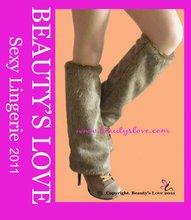 Ladies' Brown Faux Rabbit Fur Leg warmer