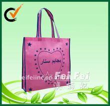 Pink shopping tote with screen printing logos