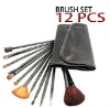 12 Pcs Professional Goat Hair Makeup Cosmetic Brush Set