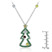 2011 exquisite beautiful christmas tree with green crystal shape pendant copper plated rhodium necklace 119249