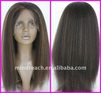 """Top quality 18"""" kinky straight Malaysian virgin human hair full lace wig,accept escrow payment"""