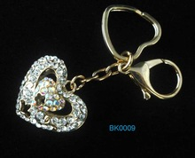 2012 hot sale zinc alloy 3D heart shaped keychain with rhinestone