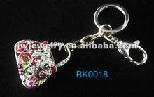 2012 hot sale new zic alloy epoxy 3D bag shape keychain,with rhinestone