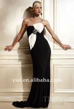 EDS73 Girls Party Dresses Ladies Fashionable Beautiful One Strap Shoulder Big White Bow Black Evening Dress