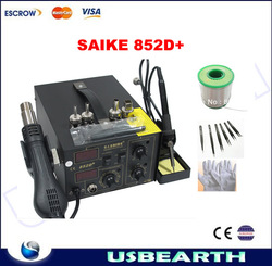 New SAIKE 852D+ 220V Iron Solder, Soldering Hot Air Gun 2 in 1 Rework Station with accessories, solder wire, gloves and tweezers