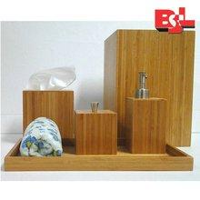 Modern Bamboo Bath Room Countertop Accessories Set
