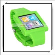 Cheapest! Green Silicone Watch Strap For iPod Nano 6th Gen