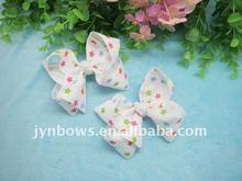 White grosgrain Hair Bow-Grosgrain Print Hair Bow-Christmas Gift Hair Bow