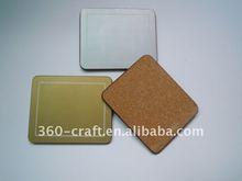 gold &silver color blank cork bottom coaster set