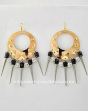Two-tone / Clear Rhinestone Accents / Lead&nickel Compliant / Smoothed Metal / Oversize Dangles / Fish Hook Earring Set