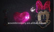 sequins Letter embroidery design patches/mikey mouse sequins patches
