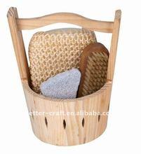 Natural wooden bath set, wooden bath massage brush