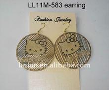 cute gold round cartoon cat earring