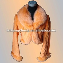 2012 Ladies' Beaver Rabbit Fur Garment trim with fox fur collar,FUR GARMENT,FUR JACKET