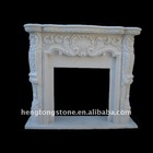 White Marble Modern Fireplace Surround