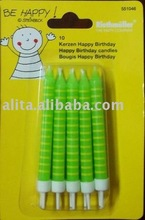 Birthday candles in card small green wax candles cake decorative candles