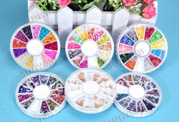 6 Wheel Mixed Nail Art Tips Rhinestone Slice Decoration 955