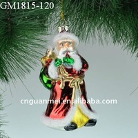 blown glass christmas hanging santa claus figurines