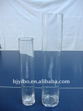 Clear cylinder shape glass vase with decoration