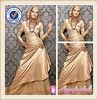 Long Sleeve Champagne Muslim Bridal Wedding Dress
