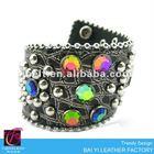 Fashion AB color diamond studded leather wrist band