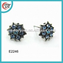 2012 fashion stud earrings alloy with blue stone