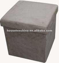 promotion! khaki suede folding storage ottoman