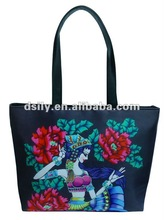 Popular Oriental Ladies Handbag, Printed Flower Icon Tote Bag, D681A110028