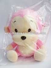 Large plush pink monkey stuffed animal
