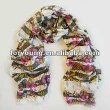 watercolor floral print shawl scarves with fringes