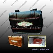 cow leather car/auto visor tissue organizer bag
